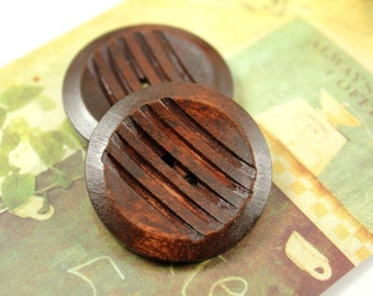 Wooden Buttons - Classy Parallel Lines Cutting Brown Large Wooden Buttons, 1.38 inch (4 in a set)