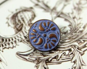 Metal Buttons - Flower Swirl Metal Buttons , Purple Copper Color , Shank , 0.43 inch , 10 pcs
