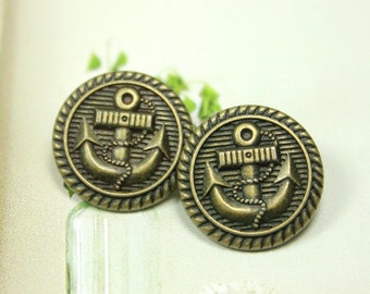 Metal Buttons - Anchor Metal Buttons , Antique Brass Color , Shank , 0.59 inch , 10 pcs