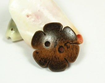 Flower Wooden Buttons - Lovely Six Petals Flowers Brown Wood Convex Buttons, 0.79 inch (10 in a set)