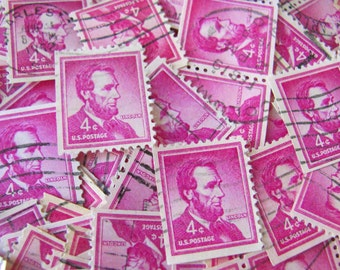 Bright Red Violet Plum 50 Vintage President Abraham Lincoln US Postage Stamps 1950s 4cent Republican Illinois History Emancipation Civil War