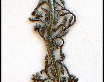 "Metal Wall Hanging - Haitian Steel Drum,  Metal Art Wall Decor, Haitian Art, Metal Art Sculpture, Metal Wall Art, Garden Art - 9"" x 34"" -757"