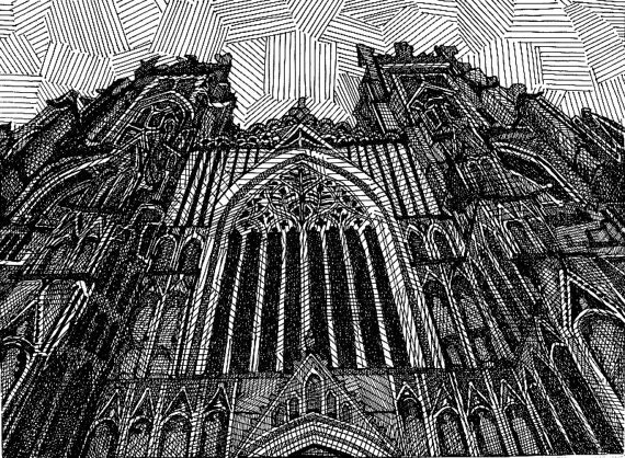 York Minster - Limited Edition Original Signed Print Drawing no. 7/75 - York England UK