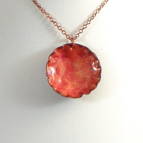 Enamel Pendant. Copper and Orange Pendant Necklace from my range of Enameled Jewelry