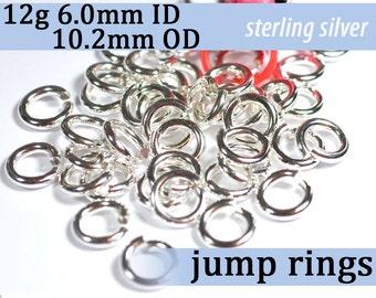 12g 6.0mm ID 10.2mm OD sterling silver jump rings -- 12g6.00 jumprings 925 links