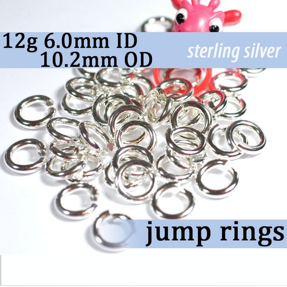 12g 6.0mm ID 10.2mm OD sterling silver jump rings -- 12g6.00 jumprings 925 jewelry supplies findings links