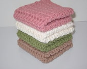 Crochet Washcloth, Crochet Dishcloth, Set of 4 Cotton Washcloths