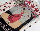 Handmade Shabby Chic Birthday card for girlfriend sister aunt mother, birdcage red and black dress in spring flower garden, paper goods dots