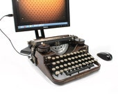 USB Typewriter -- An Upcycled Computer Keyboard and iPad Dock -- Underwood Standard with Faux Wood