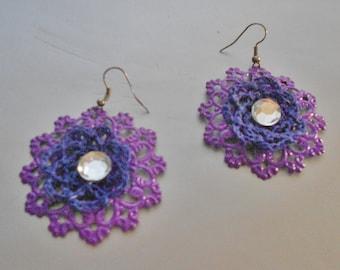 Purple earrings-Crochet Purple Earrings-Earrings
