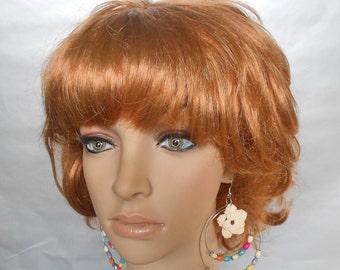 Crochet Jewelry-Beaded Crochet Hoop Earrings-Double Hoop Earrings-Cream Crochet Earrings-Crochet Earrings