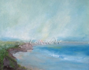 """Original Abstract Landscape Painting """"By the Shore"""" 12 x 10"""