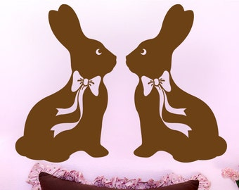 2 Huge Faux Chocolate Easter Bunny Rabbits - Wall Decal Silhouettes, Easter Decorations, Easter Candy Decal
