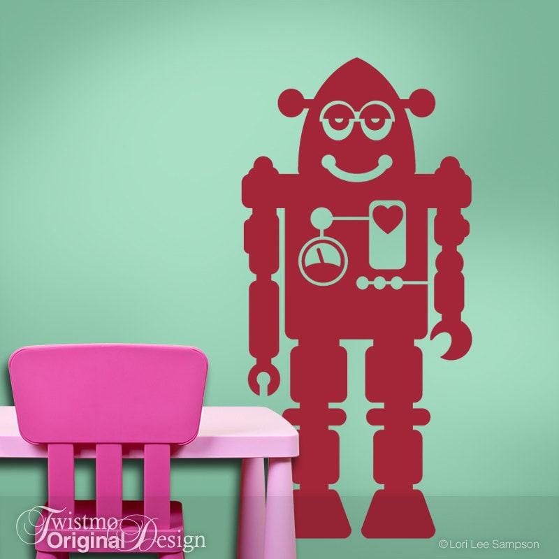 Geekery vinyl decal robot geekery wall decal robot nursery for Robot baby room decor