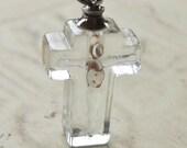 CLEARANCE - Mustard seed faith glass crucifix vial