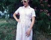 1950s plaid dress pink and white checked 50s shirt waist L