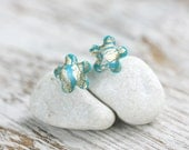 Earring Studs - Turquoise Gold Flower Posts - Dariami