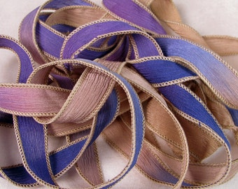 Hand Dyed Silk Ribbons - Crinkle Silk Ribbons - Silk Jewlery Ribbon Bracelet wrisp wrap - Quintessence - Purple Khaki