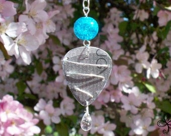 Fashion Bug Pick Necklace with Silver Wire Swirl