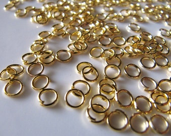 5mm Gold Tone JUMP RINGS, Brass Plated Iron, 200 Pieces, Open Unsoldered, 21 Gauge, Nickel Safe