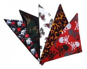 Unisex Rockabilly Bandana, Camouflage, Skulls, Flames