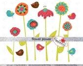 Flower Power: Clip Art Pack Card Making Bird Floral Clipart Digital Scrapbook Flowers (300 dpi transparent png)