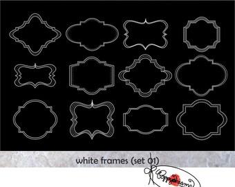 White Frames: Clip Art Pack (300 dpi) Digital Images (transparent png files) Card Making Labels Frames Digital Scrapbook