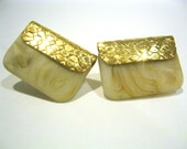Vintage Signed Napier Purse Shaped Gold Tone Earrines