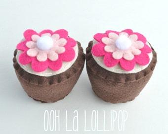 Super Sweet Chocolate Felt Cupcakes, Set of 2