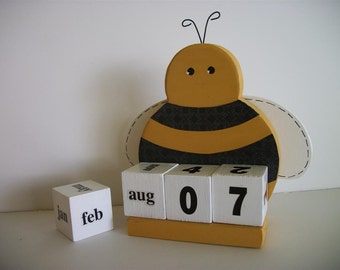 Yellow Bee Calendar Perpetual Wood Block Bumble Bee Decor Teacher Gift