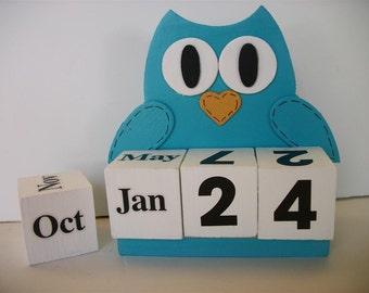 Owl Calendar Perpetual Wood Block Turquoise Owl Decor