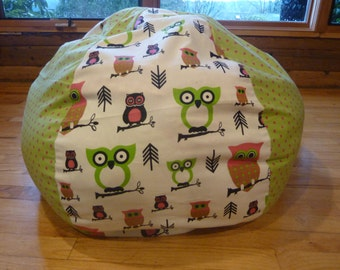 Owl Bean Bag Chair Cover, Pink, Green and White, Chevron, Polka Dot, Owls - Gift Under 75
