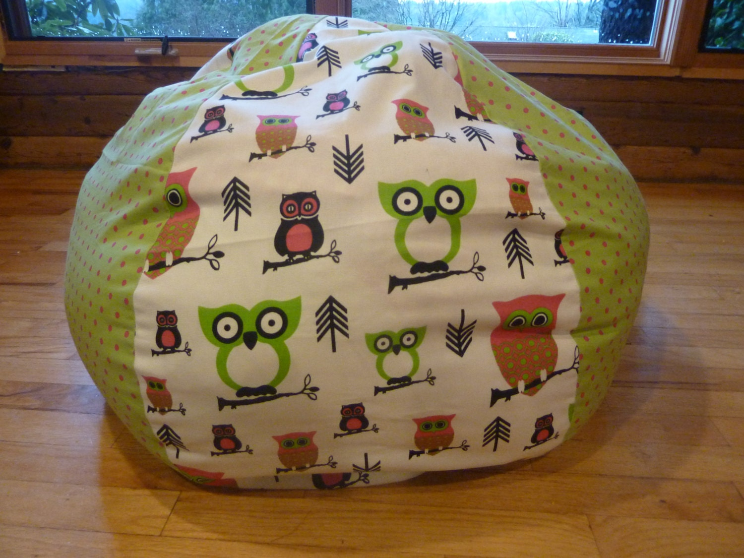🔎zoom - Owl Bean Bag Chair Cover Pink Green And White Chevron