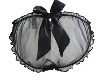 SAMPLE SALE, Medium, BELLE Black  silk chiffon Scrunchie Bow Knicker  - black sleepwear lingerie