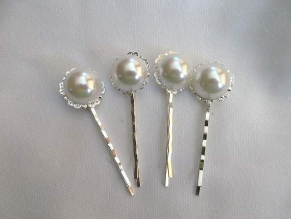 Vintage Style Platinum Silver Pearl Hair pins,  Set of 4 bobby pins, Hair accessory