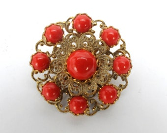 Vintage Brooch Red Gold Filigree Circle Pin