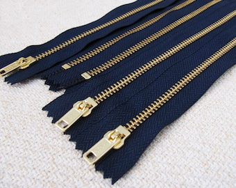 8inch - Navy Blue Metal Zipper - Gold Teeth - 5pcs