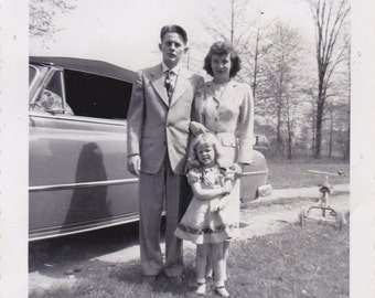 Vintage Photo - Family By The Car - Vintage Photograph, Vernacular, Found Photo  (WW)