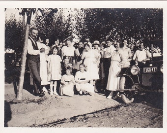Vintage Photo - Group by the Old Car - Vintage Photograph, Vernacular, Found Photos  (J)