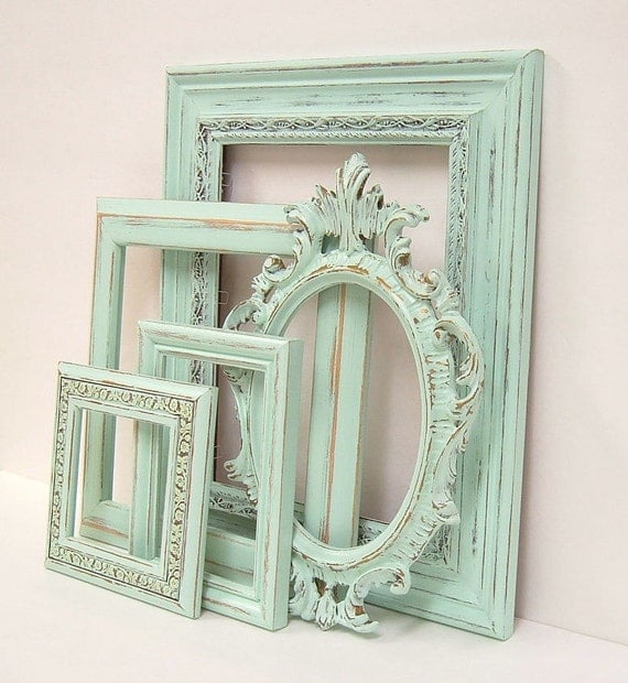 shabby chic frames pastel mint green picture frame set ornate. Black Bedroom Furniture Sets. Home Design Ideas