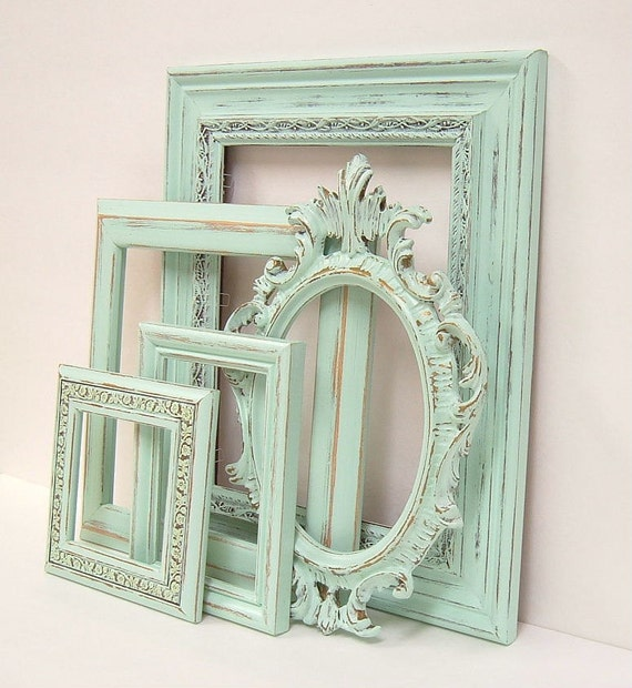 Shabby chic frames pastel mint green picture frame set ornate - Designs in glasses for house decoration ...