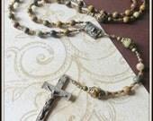 Red Creek Jasper Catholic Rosary Beads for Men, Bronze Beaded Flexwire Rosary w/ Ecce Uomo Center