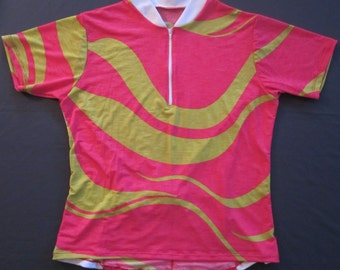Cycling jersey Short Sleeve Bike Top Big Pink Wave - Small