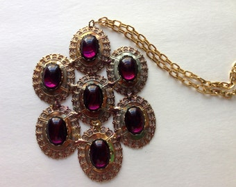 Vintage Gold Tone Necklace Amethyst Dramatic Flair