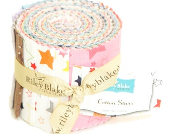 "Stars 2 1/2"" Strips Rolie Polie for Riley Blake, 13 pieces"