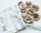 Childrens Memory Match game - hand stamped wooden set in hand sewn drawstring bag - Inside and Out - gender neutral edition