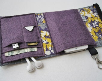 Nerd Herder gadget wallet in Purple Posies for iPod, Android, iPhone 6, Samsung Galaxy S5, earbuds, SD cards, USB, guitar picks,