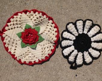 2 Vintage Hand Crocheted Pot Holders