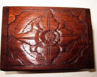 Vintage Carved Wood Vintage Box -  Indonesia Hand Made Box - Folk Art Carved Wood Box - Carved Wooden Windrose Flower