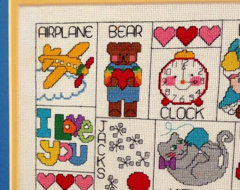ALPHABET! Animals, Bugs,Toys and Foods in Needlework, Great for Kids' Room, Colorful and Expertly Made!